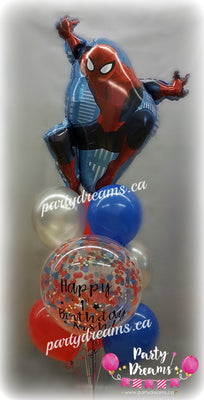 Spiderman Birthday Confetti Balloon Bouquet #CH30