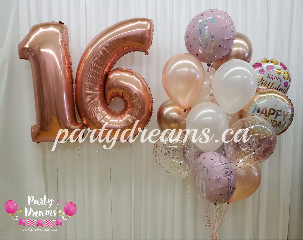 Sweet 16 Jumbo Number Birthday Balloon Bouquet Set #83