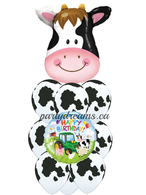 Cow Birthday Balloons Bouquet #KB4