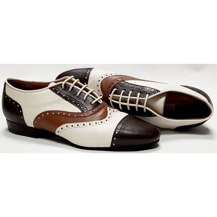 Canaro - Cream, Tan and Chocolate Brown Leather-Paso de Fuego- Axis Tango - Best Tango Shoes