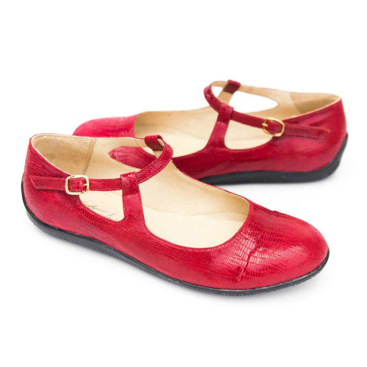 Katrinski Flats - Red, Black, Silver & Beige | Axis Tango - Best Tango Shoes