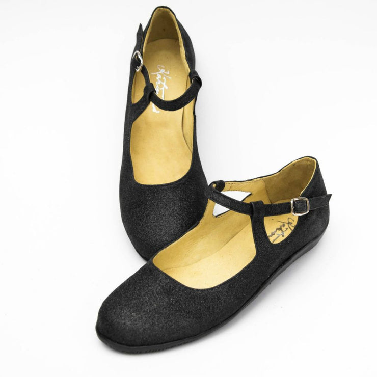 Wicked - Black Glitter - FINAL SALE by Katrinski - Imported from Italy, Argentina and beyond: best tango shoes and tango apparel. Beautiful, comfortable, premium quality!