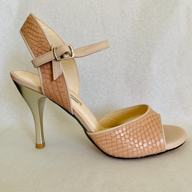 Corrientes - Blush Nude Snake 80 CLEAROUT-Paso de Fuego- Axis Tango - Best Tango Shoes