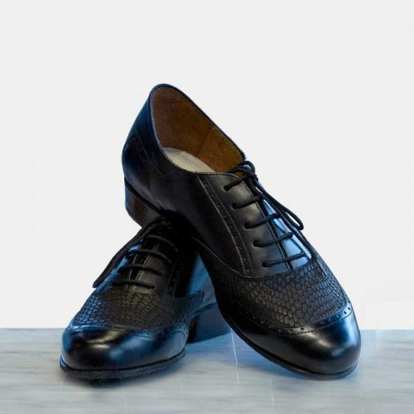 Nuevo - Black Napa And Snake Leather-DNI- Axis Tango - Best Tango Shoes