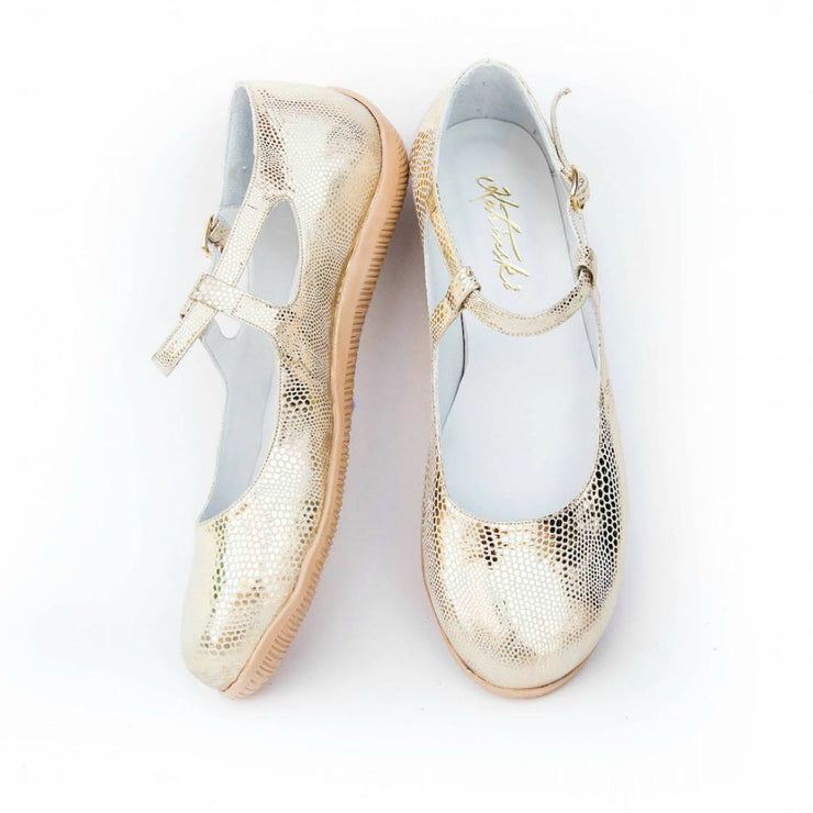 Orla - Platinum Stamped Metallic Leather by Katrinski - Imported from Italy, Argentina and beyond: best tango shoes and tango apparel. Beautiful, comfortable, premium quality!