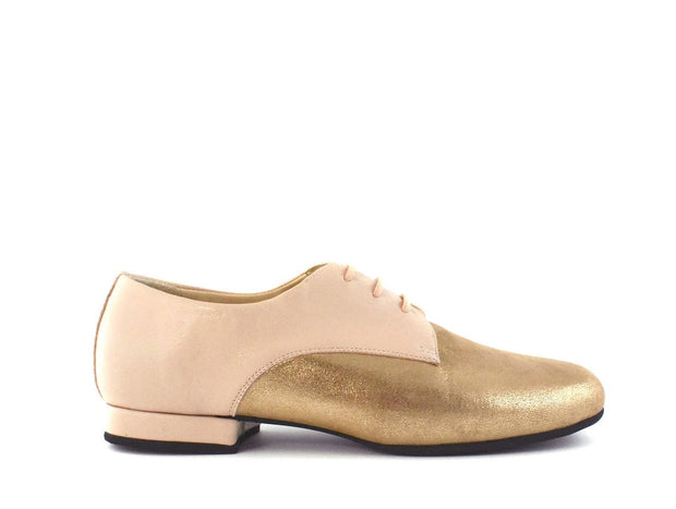 Derbies - Powder Pink Leather And Brass Stardust-Madame Pivot- Axis Tango - Best Tango Shoes