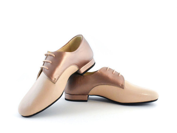 Derbies - Copper And Powder Pink Leather-Madame Pivot- Axis Tango - Best Tango Shoes
