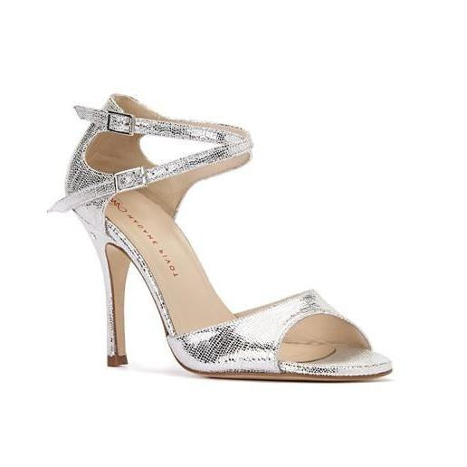 Doppia Fibbia - Silver Metallic-Madame Pivot- Axis Tango - Best Tango Shoes