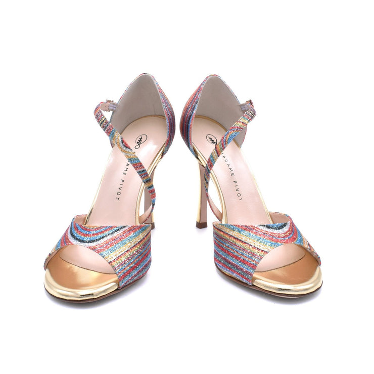 Charlotte - Gold Glitter Rainbow 70, 80, 85, 105-Madame Pivot- Axis Tango - Best Tango Shoes
