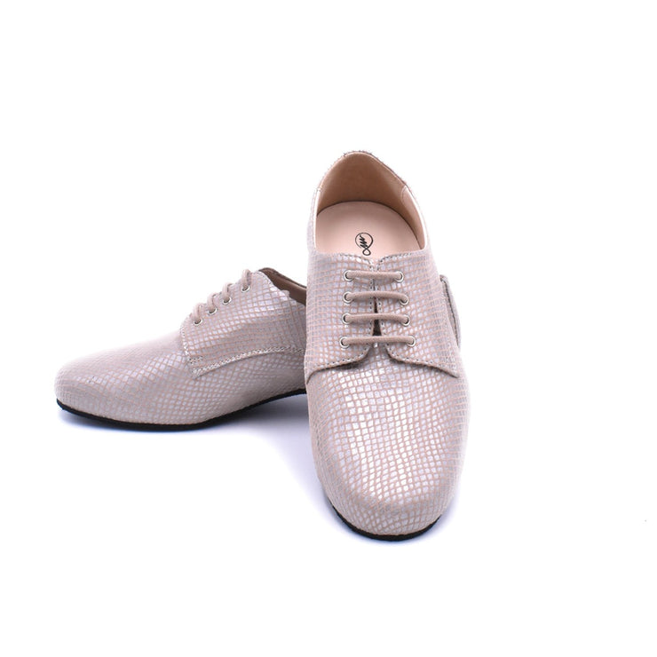 Derbies - Powder Pink Printed Leather 20-Madame Pivot- Axis Tango - Best Tango Shoes