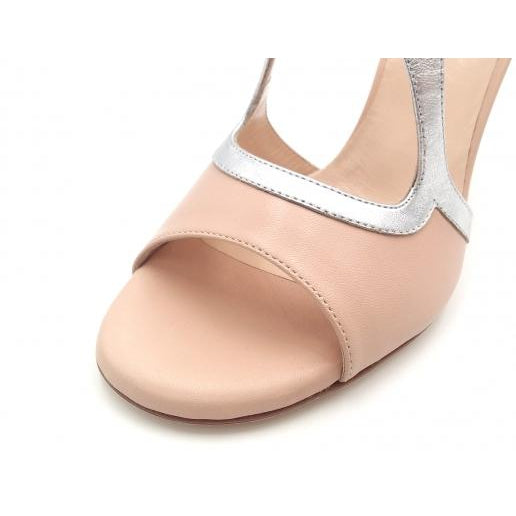 Giada - Neutral Leather and Metallic Silver (7cm, 8cm, 8.5cm) | Axis Tango - Best Tango Shoes