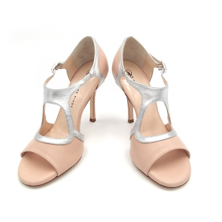 Giada - Neutral Leather and Metallic Silver (7cm, 8cm, 8.5cm) - Axis Tango | Best Tango Shoes