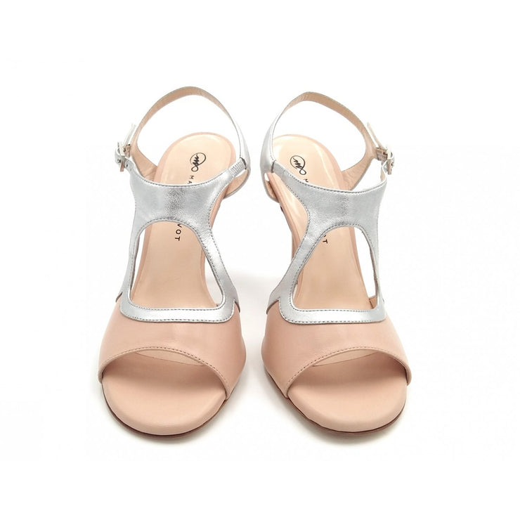 Giada Open - Neutral Leather and Metallic Silver (7cm, 8cm, 8.5cm) | Axis Tango - Best Tango Shoes