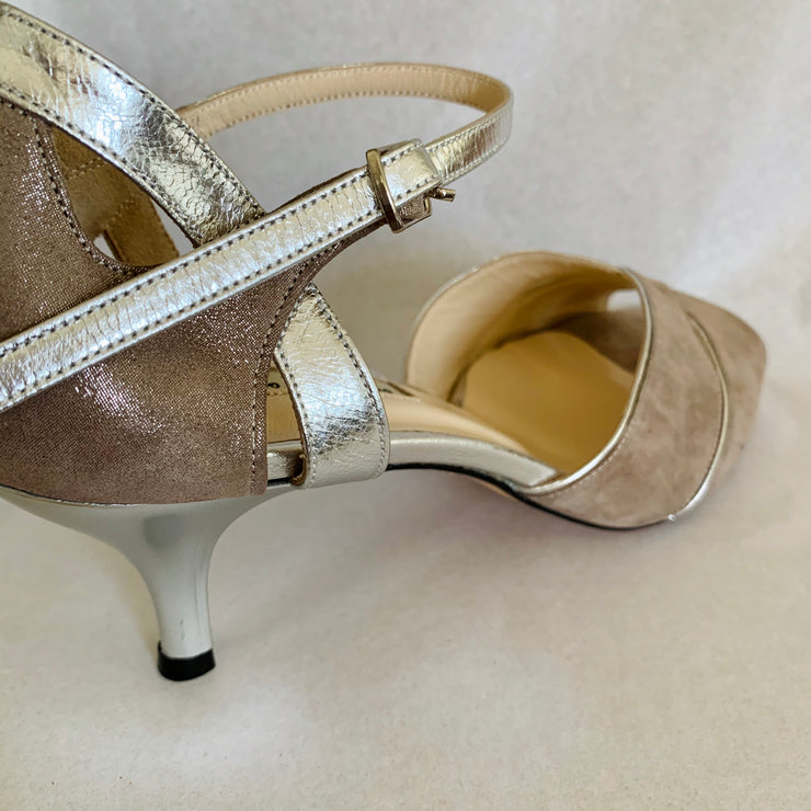 Campana - Greige Pearlized Suede 60 CLEAROUT-Paso de Fuego- Axis Tango - Best Tango Shoes