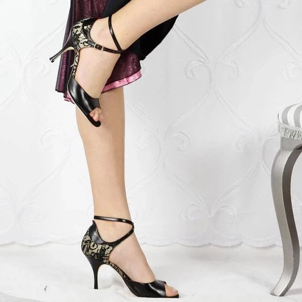Lucca - Black Leather and Lace (8cm) - Axis Tango | Best Tango Shoes