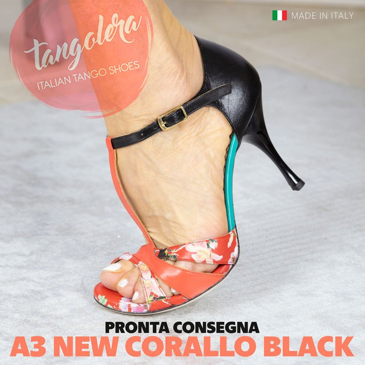 Biella New - Black & Coral Leather 70 | Axis Tango - Best Tango Shoes