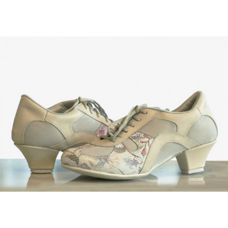Rocio - Cream Leather And Flowers 50-DNI- Axis Tango - Best Tango Shoes