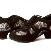 Rocio - Black Suede And Light Lace 50-DNI- Axis Tango - Best Tango Shoes