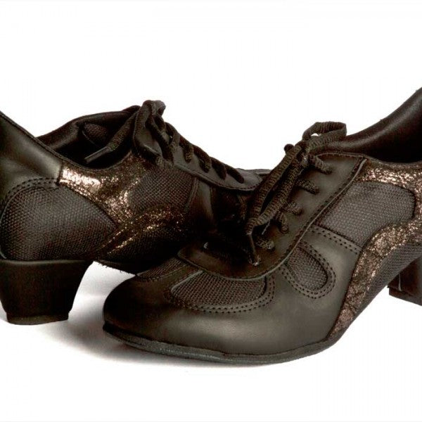 Rocio - Black Leather And Bronze Detail 50-DNI- Axis Tango - Best Tango Shoes