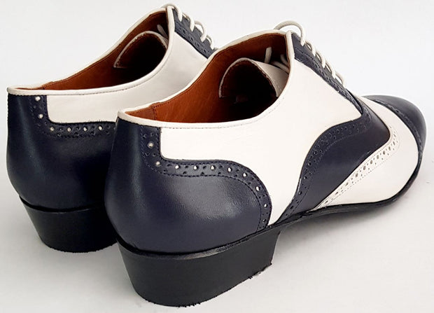 Canaro - Blue + Cream Leather-Paso de Fuego- Axis Tango - Best Tango Shoes