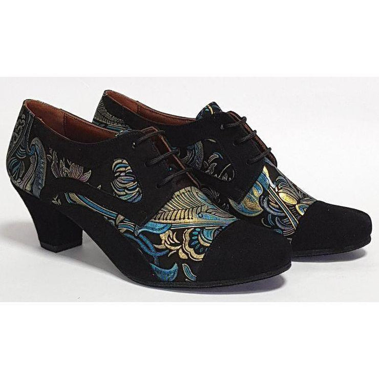 Frontera - Black Suede and Peacock Paisley 45 | Axis Tango - Best Tango Shoes