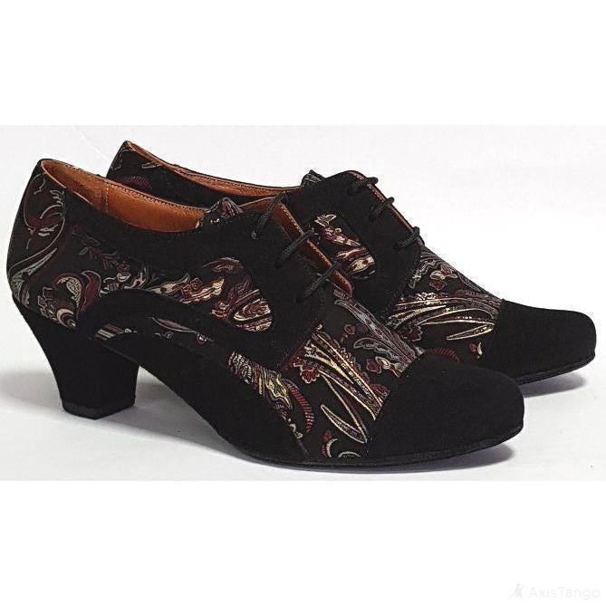 Frontera - Black Suede and Bronze Paisley 45 | Axis Tango - Best Tango Shoes