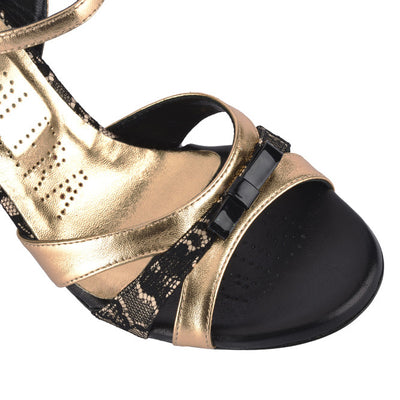 Novara - Black Lace & Copper Metallic Leather (7cm) by Bandolera (now Tangolera) - Imported from Italy, Argentina and beyond: best tango shoes and tango apparel. Beautiful, comfortable, premium quality!