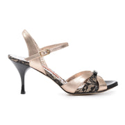 Novara - Black Lace & Copper Metallic Leather (7cm) | Axis Tango - Best Tango Shoes