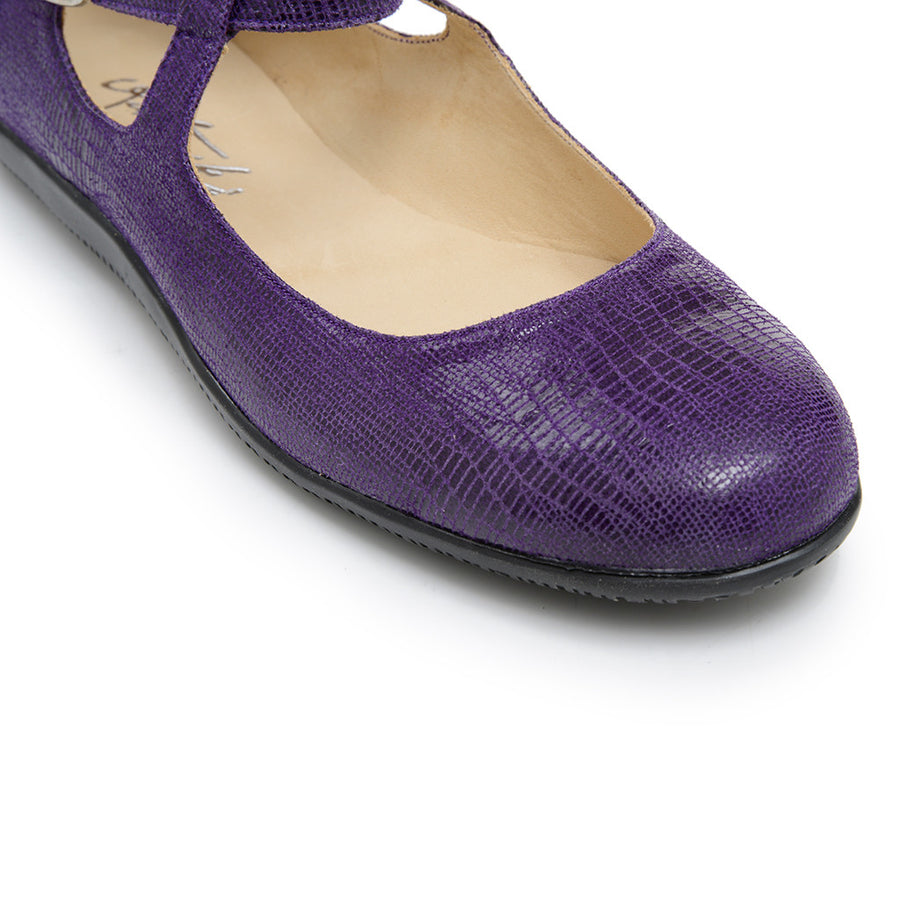 Lola - Purple Stamped Leather