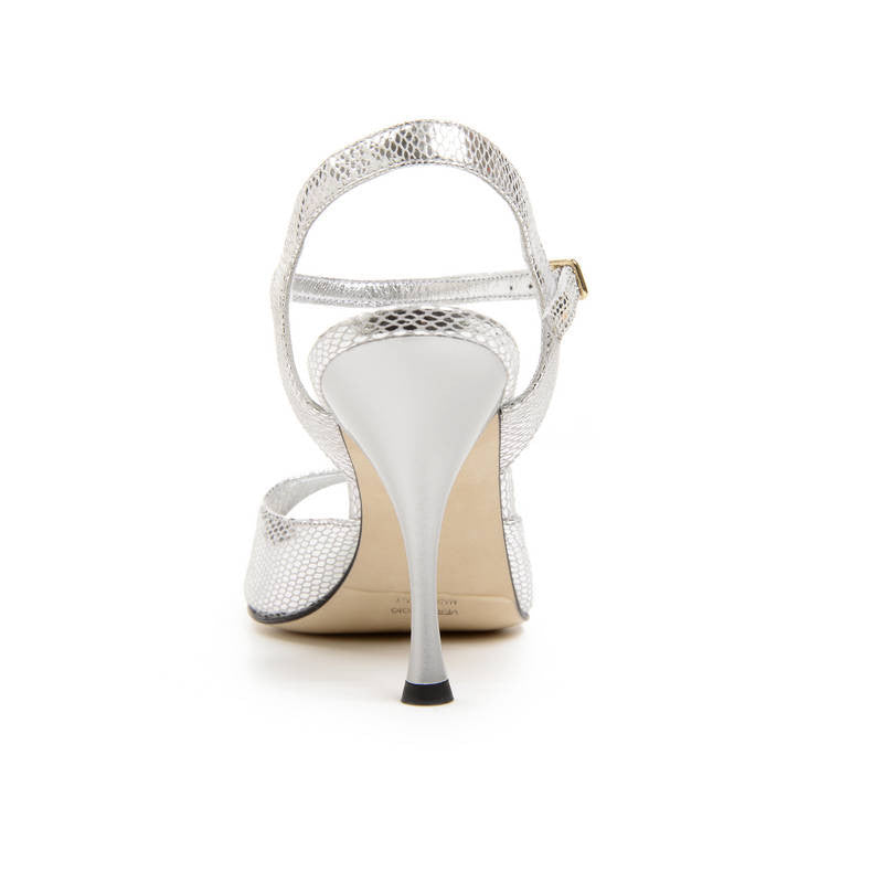Enna - Silver Leather (9cm) by Bandolera (now Tangolera) - Imported from Italy, Argentina and beyond: best tango shoes and tango apparel. Beautiful, comfortable, premium quality!