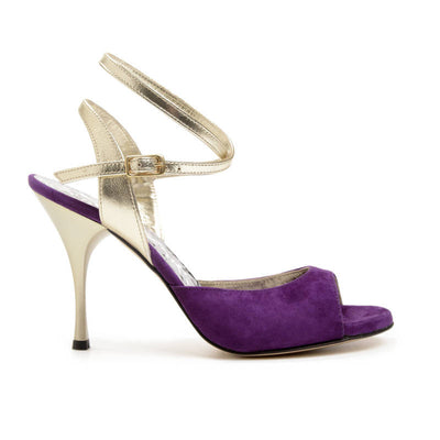 Enna CL - Plum Suede & Laminated Leather (9cm) by Bandolera (now Tangolera) - Imported from Italy, Argentina and beyond: best tango shoes and tango apparel. Beautiful, comfortable, premium quality!