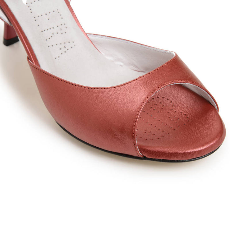 Enna CL - Coral Red Leather (7cm) by Bandolera (now Tangolera) - Imported from Italy, Argentina and beyond: best tango shoes and tango apparel. Beautiful, comfortable, premium quality!