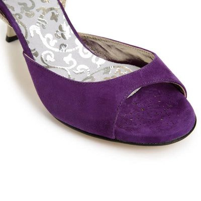 Enna CL - Plum Suede & Laminated Leather (9cm)