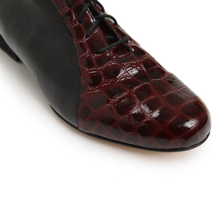 Almagro FLEX Negro y Charol Croco Bordo by 2x4 al pie - Imported from Italy, Argentina and beyond: best tango shoes and tango apparel. Beautiful, comfortable, premium quality!