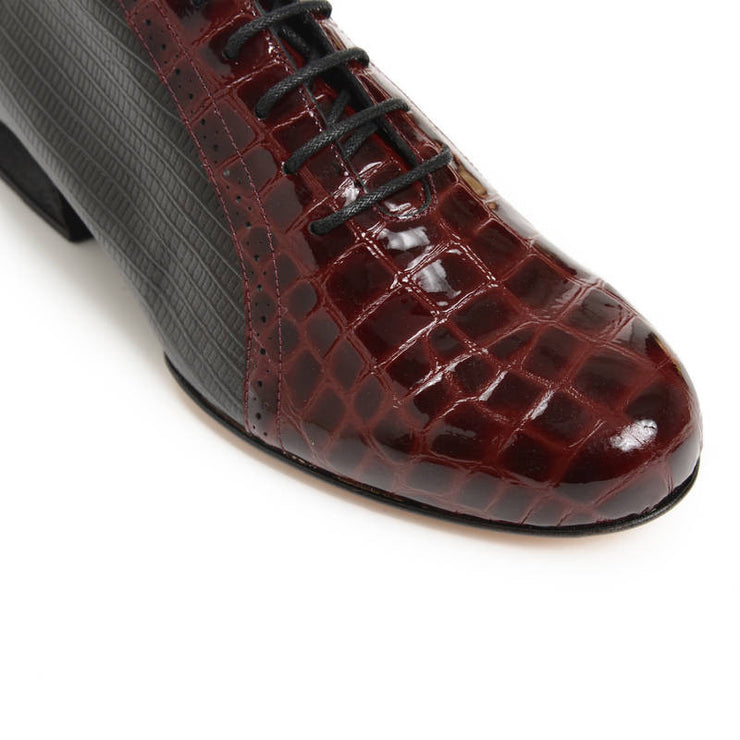 Abasto FLEX Lagarto Negro y Charol Croco Bordo | Axis Tango - Best Tango Shoes