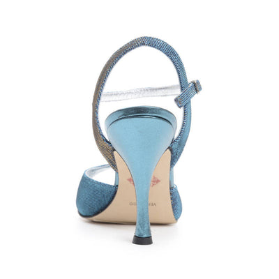 Enna - Turquoise Textile (9cm) by Bandolera (now Tangolera) - Imported from Italy, Argentina and beyond: best tango shoes and tango apparel. Beautiful, comfortable, premium quality!