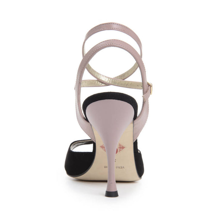 Enna CL - Black Suede & Blush Leather (9cm) by Bandolera (now Tangolera) - Imported from Italy, Argentina and beyond: best tango shoes and tango apparel. Beautiful, comfortable, premium quality!