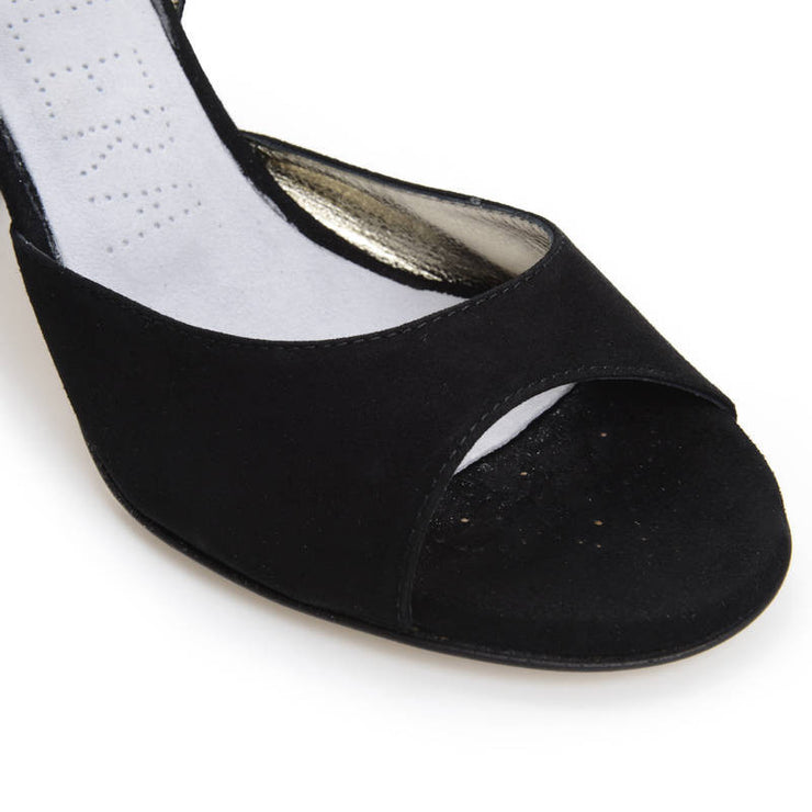 Asti - Black Suede (7cm) - FINAL SALE by Bandolera (now Tangolera) - Imported from Italy, Argentina and beyond: best tango shoes and tango apparel. Beautiful, comfortable, premium quality!