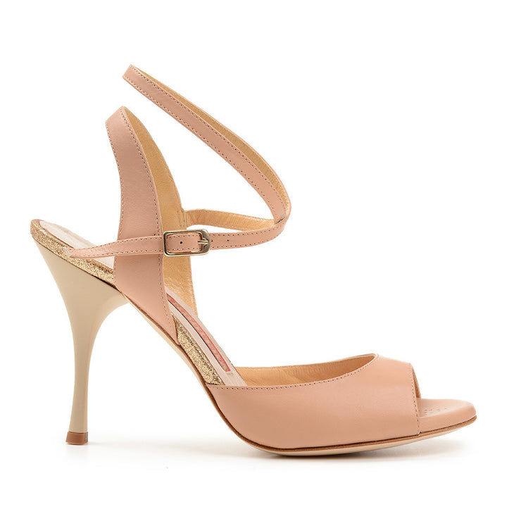 Enna CL - Nude Leather (9cm) by Bandolera (now Tangolera) - Imported from Italy, Argentina and beyond: best tango shoes and tango apparel. Beautiful, comfortable, premium quality!