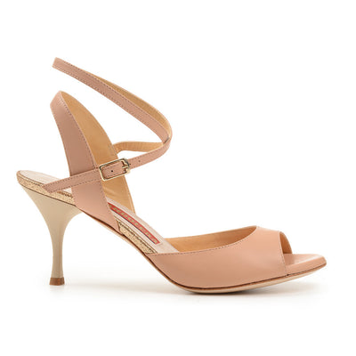 Enna CL - Nude Leather (7cm) by Bandolera (now Tangolera) - Imported from Italy, Argentina and beyond: best tango shoes and tango apparel. Beautiful, comfortable, premium quality!