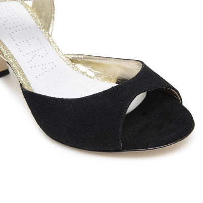 Enna CL - Black Suede & Platinum Leather (6cm) by Bandolera (now Tangolera) - Imported from Italy, Argentina and beyond: best tango shoes and tango apparel. Beautiful, comfortable, premium quality!