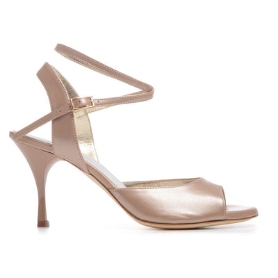 Enna CL - Pearl Taupe Leather (7cm) by Bandolera (now Tangolera) - Imported from Italy, Argentina and beyond: best tango shoes and tango apparel. Beautiful, comfortable, premium quality!