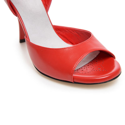 Enna CL - Red Nappa Leather (9cm) by Bandolera (now Tangolera) - Imported from Italy, Argentina and beyond: best tango shoes and tango apparel. Beautiful, comfortable, premium quality!