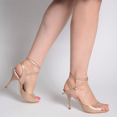 Enna CL - Pearl Taupe Leather (9cm) by Bandolera (now Tangolera) - Imported from Italy, Argentina and beyond: best tango shoes and tango apparel. Beautiful, comfortable, premium quality!