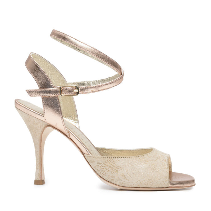 Asti BCL - Light Beige Printed Suede (9cm) | Axis Tango - Best Tango Shoes