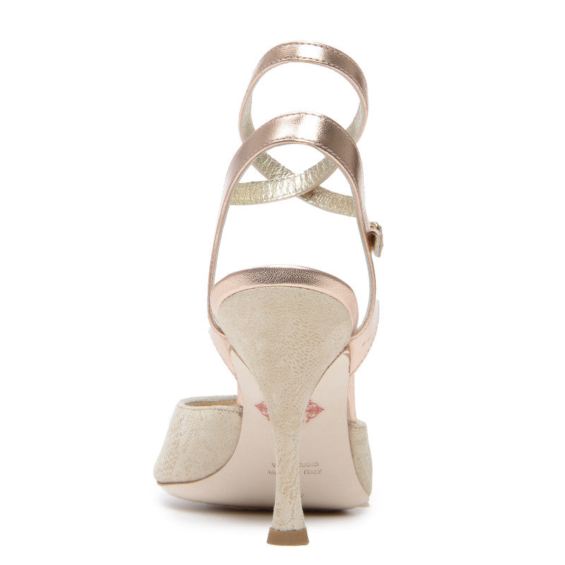 Asti BCL - Light Beige Printed Suede (9cm) by Bandolera (now Tangolera) - Imported from Italy, Argentina and beyond: best tango shoes and tango apparel. Beautiful, comfortable, premium quality!
