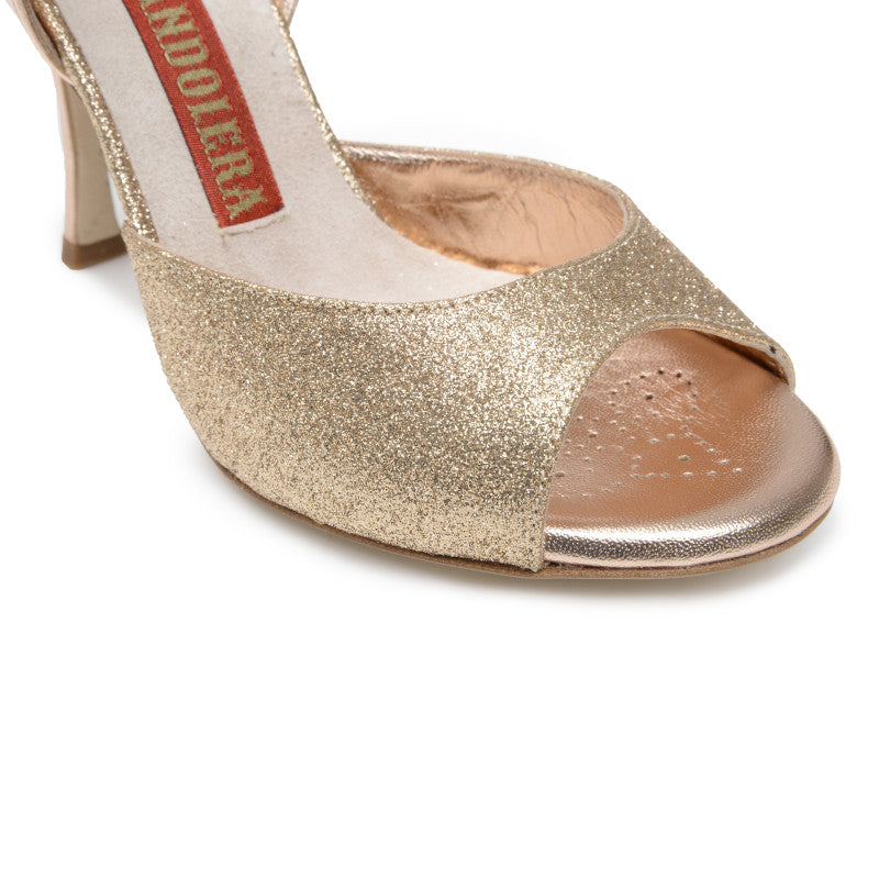 Asti - Copper Microglitter (9cm) by Bandolera (now Tangolera) - Imported from Italy, Argentina and beyond: best tango shoes and tango apparel. Beautiful, comfortable, premium quality!