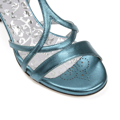 Bari - Turquoise Metallic Leather (7cm) by Bandolera (now Tangolera) - Imported from Italy, Argentina and beyond: best tango shoes and tango apparel. Beautiful, comfortable, premium quality!