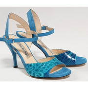 Corrientes - Turquoise Suede & Leather 50, 60, 70, 80-Paso de Fuego- Axis Tango - Best Tango Shoes