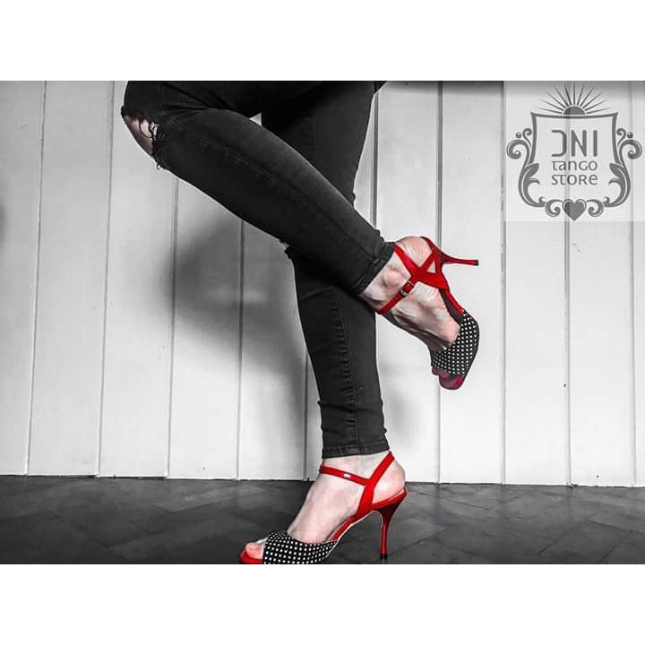 Ema - Red Patent Leather With Black & White Polka Dots 75-DNI- Axis Tango - Best Tango Shoes